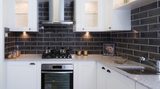 Dark tiled kitchen splashback Wallspan Adelaide