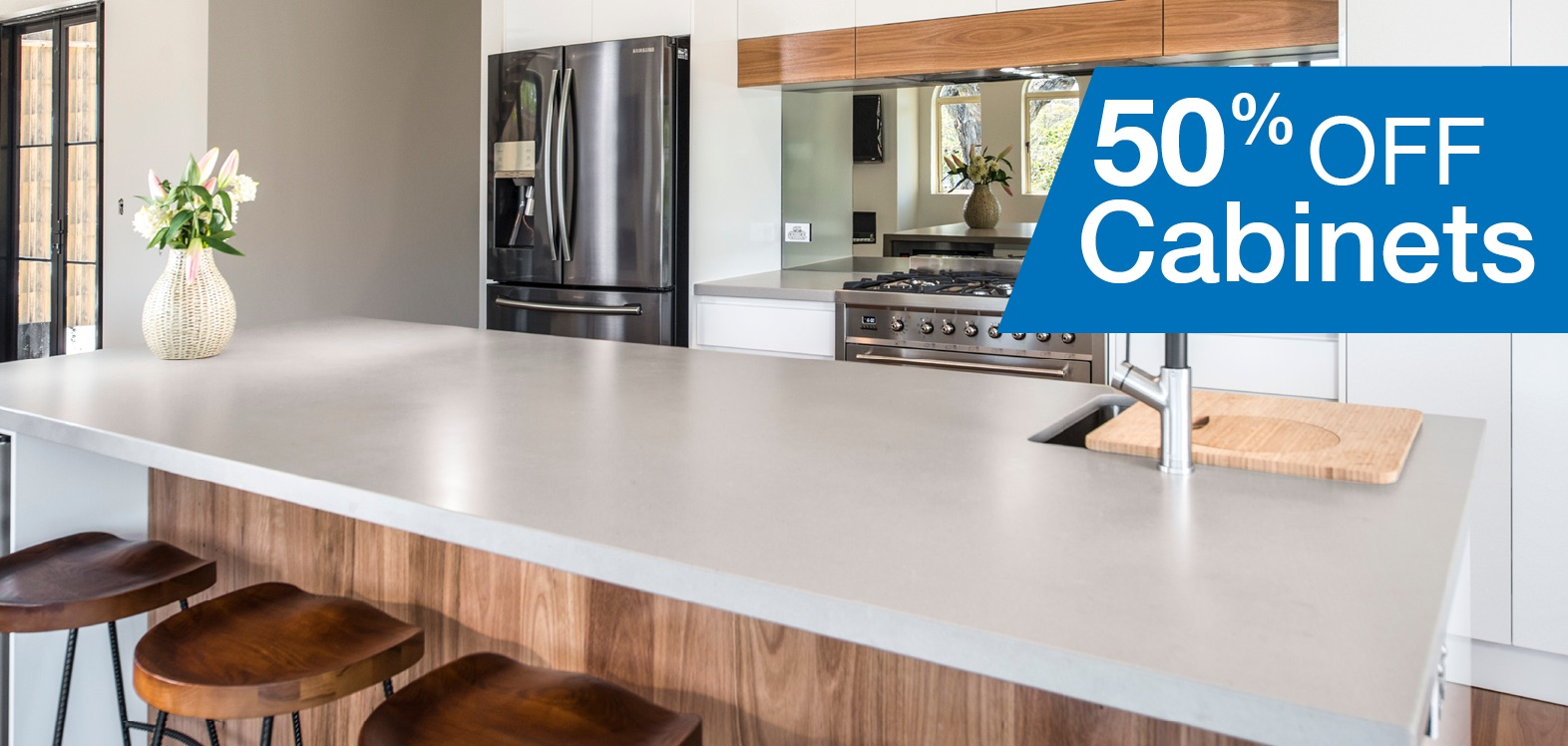 New kitchens sale offer wallspan kitchens adelaide for Kitchen cabinets 50 off